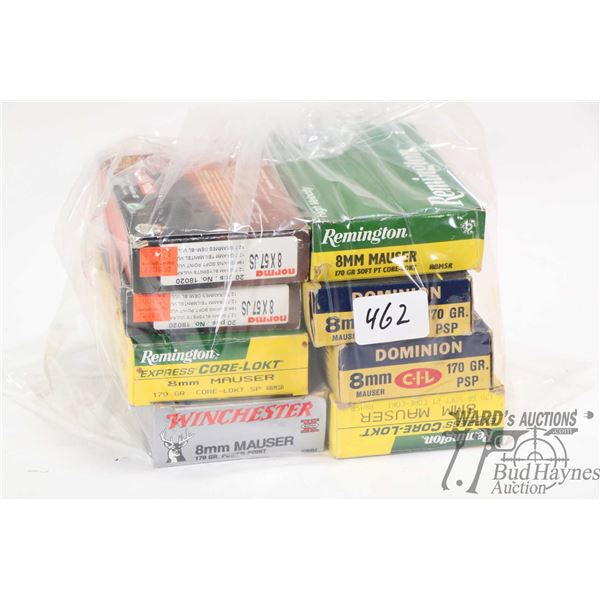 Selection of 8mm Mauser ammunition including two full 20 count boxes of Remington 170 grain Core-Lok