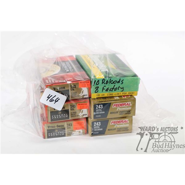 Selection of 243 Win ammunition including three full Federal 20 count boxes 55 grain Nosler Balistic