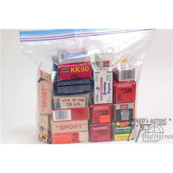 Large selection of .22 ammunition including approximately 350 rounds of Win mag., 750 rounds of .22