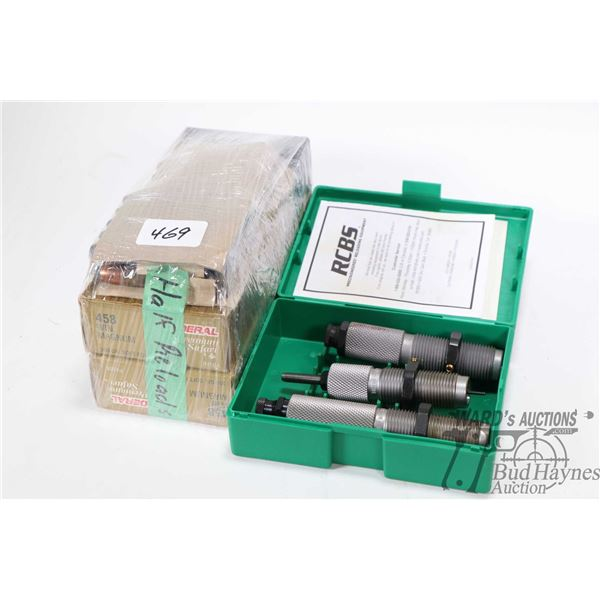 Three piece RCBS .458 Win Mag die set P/N 20804 plus 54 rounds of .458 Win Magnum ammunition, appear