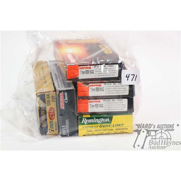 Selection of 7mm Remington Magnum including 52 rounds of Norma 158 grain soft point and approximatel