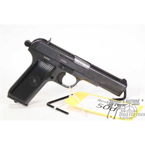 Restricted handgun Zastava model M57 TT (Tokarev), 7.62mm ten shot semi automatic, w/ bbl length 116