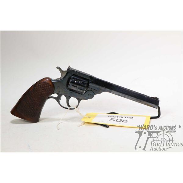 Restricted handgun H&R model Sportsman, .22 LR nine shot hinge break/double action, w/ bbl length 15