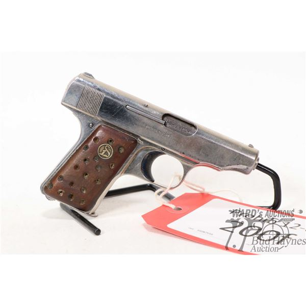 Prohib 12-6 handgun Deutsche Werke model Ortgies Patent, 6.35 six shot semi automatic, w/ bbl length