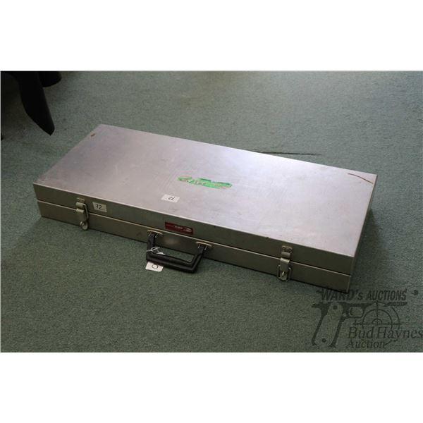 "Custom made double latch foam lined aluminum case, outside dimensions 34"" X 14"" X 4.5"". Note: Not av"
