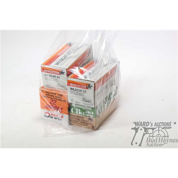 Two full 500 count boxes of Winchester Wildcat .22 LR, full 500 count PMC Zaper 22 .22 LR, full 500