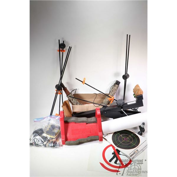 Selection of range accessories including Bench Master shooting rest, targets and target stands, spee