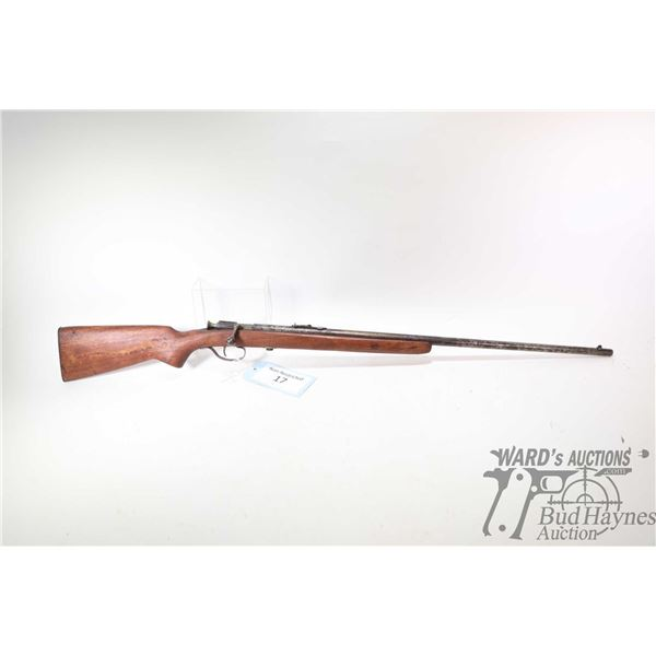 Non-Restricted rifle Winchester model 67, 22 S, L & LR Single Shot bolt action, w/ bbl length 27  [B