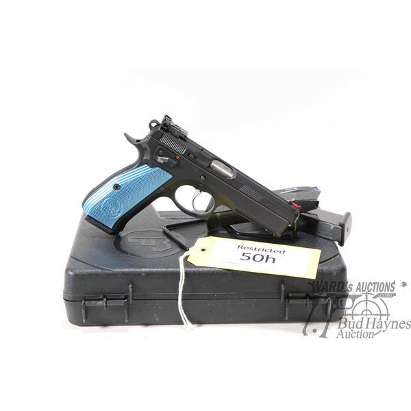 Restricted handgun CZ model 75 SP-01 Shadow, 9mm ten shot semi automatic, w/ bbl length 120mm [Blued