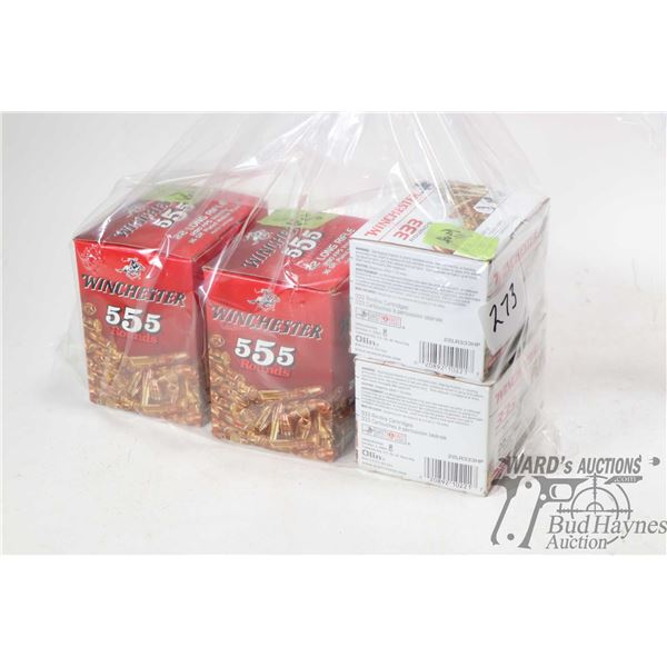 Two full 555 count boxes of Winchester .22 LR 36 grain and two full 333 count of Winchester .22 LR 3