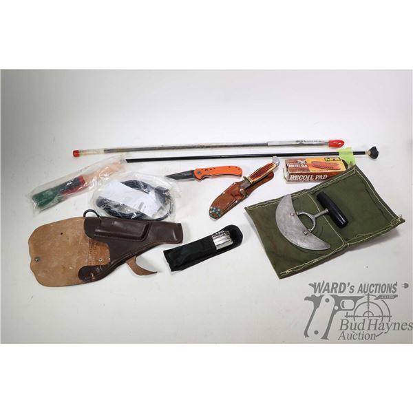 Tokarev flap holster, skinning knife in handmade case, John Benzen Tools multi knife, Team Primos fo