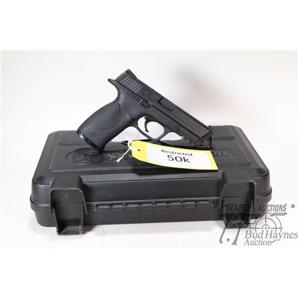 Restricted handgun S&W model M&P 9, 9mm ten shot semi automatic, w/ bbl length 108mm [Black anodized