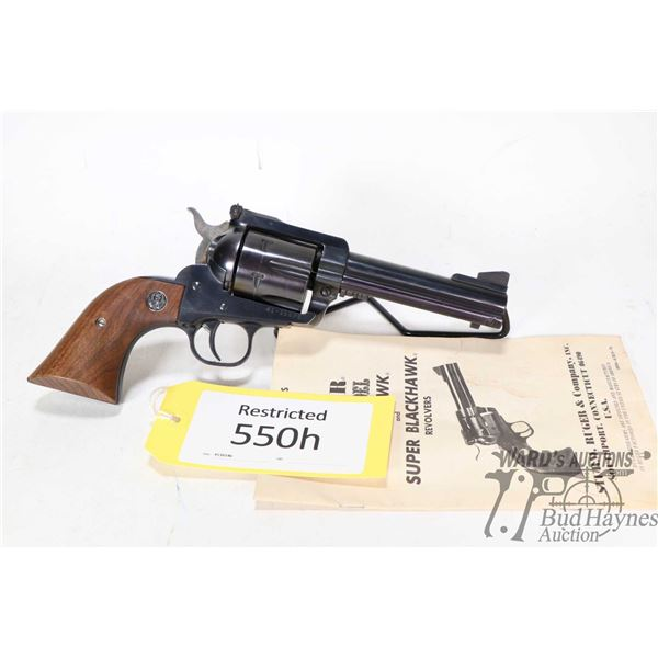 Restricted handgun Ruger model New Model Blackhawk, .41 Mag six shot single action, w/ bbl length 11