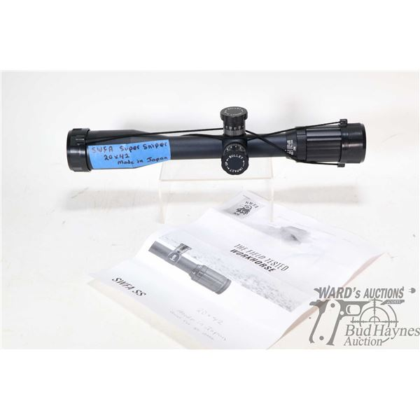 SWFA SS 20X42 scope with SS Reticle, slip on covers and photocopied documentation, purportedly good