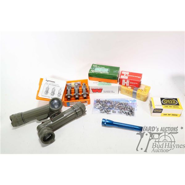 Selection of loading components including full 50 count Remington .38 Spl unprimed cases, full 50 co