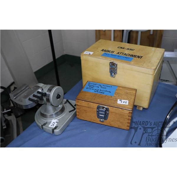 Three tool grinder attachments including model no. CM-03C radius attachment in wooden box, PYH grind