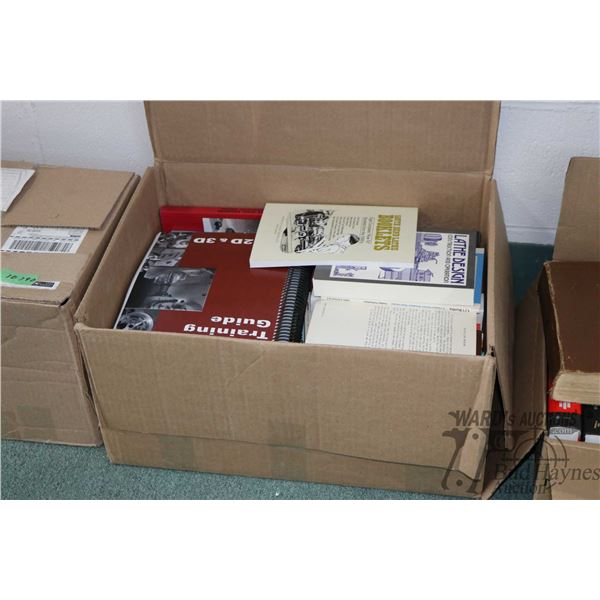 Box of shop books including lathe tutorials, welding, casting etc.