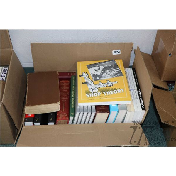 """Box of books including Shop Theory, five volumes of """"Projects"""", Modern Metal Working, Modern Welding"""