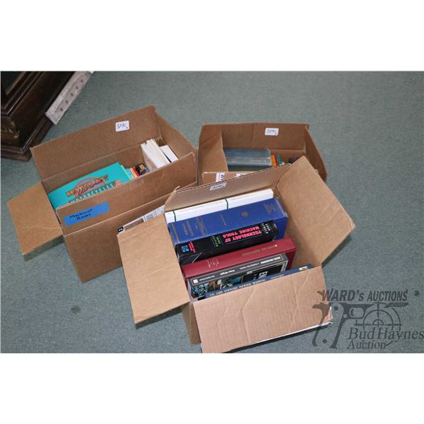 Three boxes of hard and soft cover shop books including lathe tutorial, shop methods, casting, fixtu