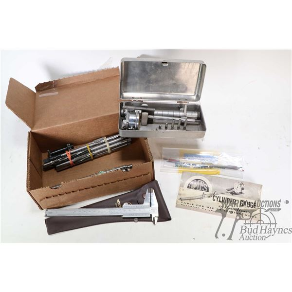 """Large selection of reamers, gauges, Tig welding tungsten,  6"""" Mitotoyo Vernier calipers and an Ames"""
