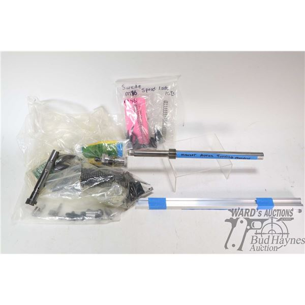 Mauser M96 parts and tools including speed lock kits, bolts and other miscellaneous parts, action bo