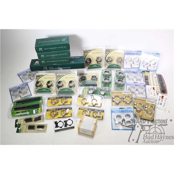 Large selection of new in package scope ring and mounts including Burris, Remington, NC Star, Leupol