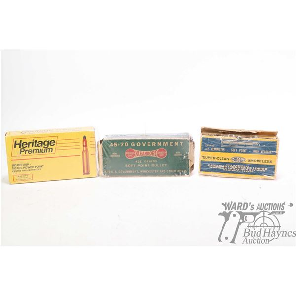 Vintage ammunition boxes including Heritage Premium .308 with eight non-original live rounds, Kleanb