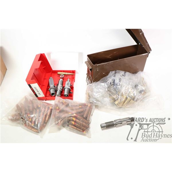 Metal ammunition can with a selection of 50 BMG bullets, two bags of unknown count of 50 BMG bullets
