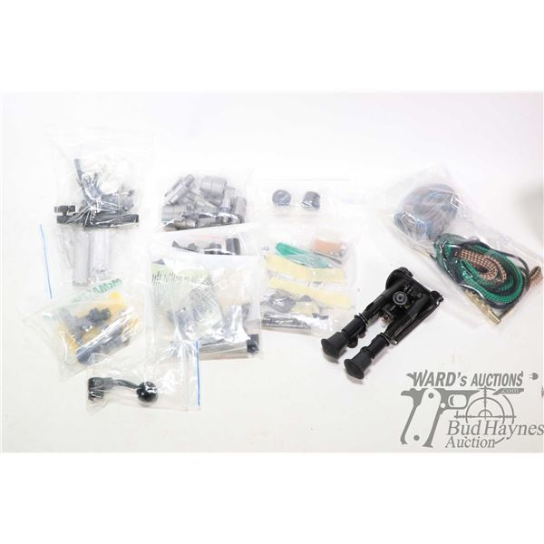 Mixed bag of parts and accessories including ramp-s, sling mounts, bolt handle, Mauser bolt shrouds,
