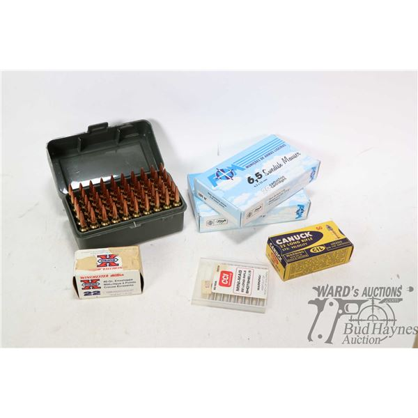 Selection of ammunition including fifty  rounds of .22 Ackley reloads in plastic Plano case, full fi