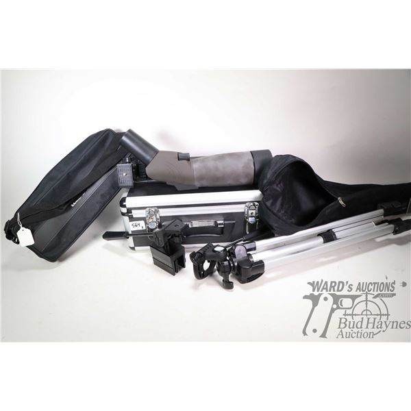Tasco spotting scope 20- 40X 60X with covers, tri-pod and case plus a Bushnell swivel scope mount pl