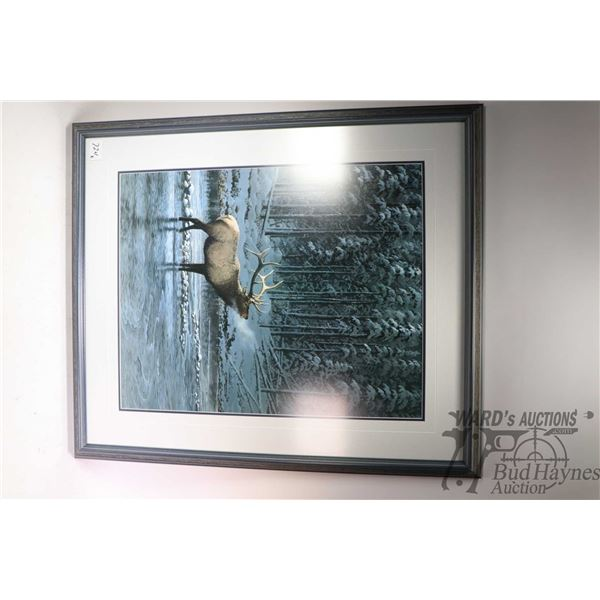 """Two framed wilderness prints including """"Lonesome Bull-Elk"""" by Persis Clayton Weirs and limited editi"""
