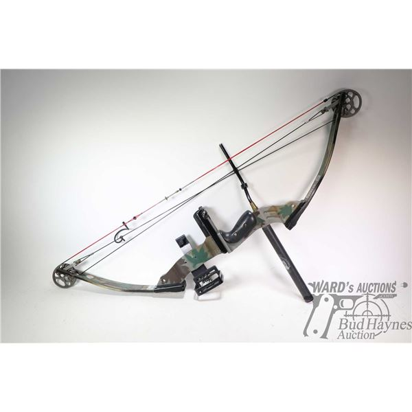 PSE Infinity SR1000 right hand compound bow with Mongoose sight, Vibracheck counterweight, 70-80 Pea