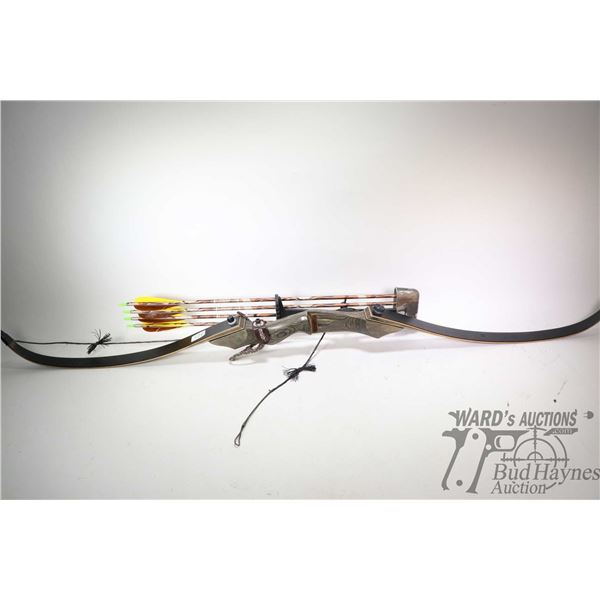 PSE Heritage Series Take-Down Recurve right hand bow, with quiver, four arrows and strap