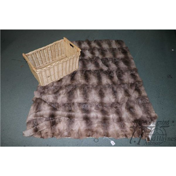 """Rabbit fur blanket 57"""" X 76"""" and a woven double handled basket"""