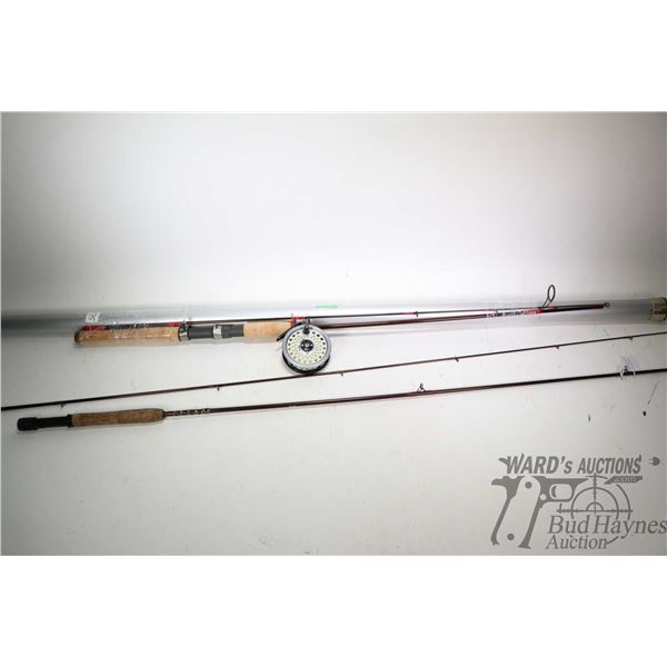 Fenwick HMG 9' five weight, 2 piece fly rod and English made Intrepid Rimfly reel and Fenwick HMG 6'