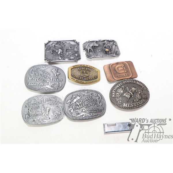 Selection of belt buckles including 1987 C.M. Russell limited edition Bronc to Breakfast, Dreams of