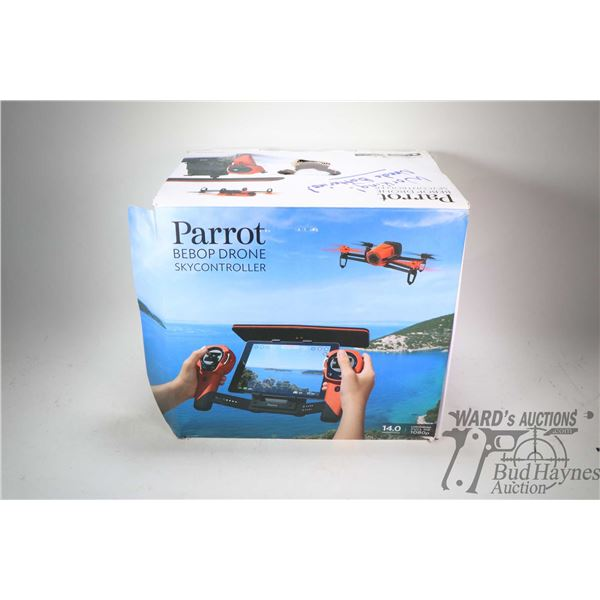 """Parrot Bebop drone """"Skycontroller"""" box indicates 14.0 megapixel, full HD 1080 P capability. Consigno"""