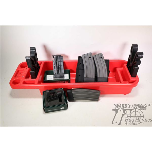 MCM Case-Gard gun stand, three AR style pinned to five magazines plus webbed holster, a new in box N
