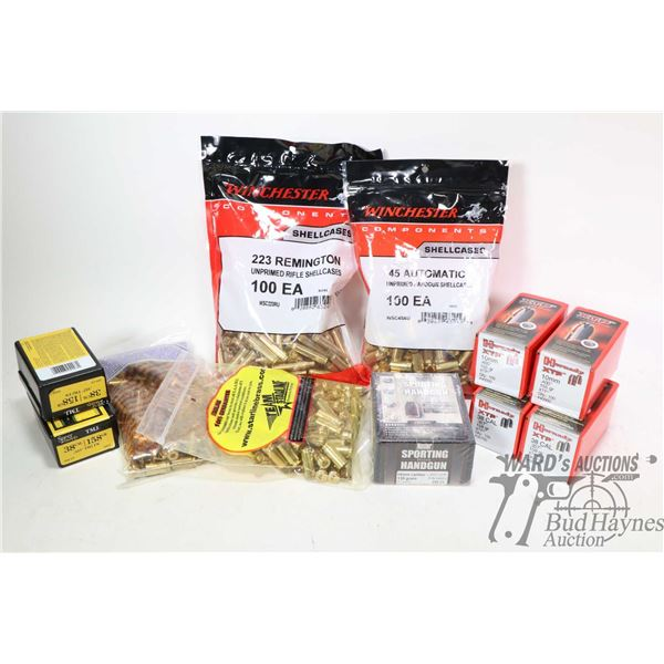 Selection of lead and brass including two100 count boxes of Hornady 10mm 155 grain bullets, one 250