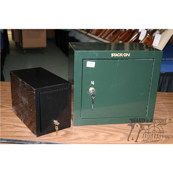 """Two metal ammo. lockers including a Stack-On 17"""" wide X 10"""" X 15"""" high and a unbranded ammo box 7 1/"""