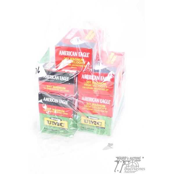Selection of .357 ammunition including five 50 count boxes of American Eagle 158 grain jacketed soft