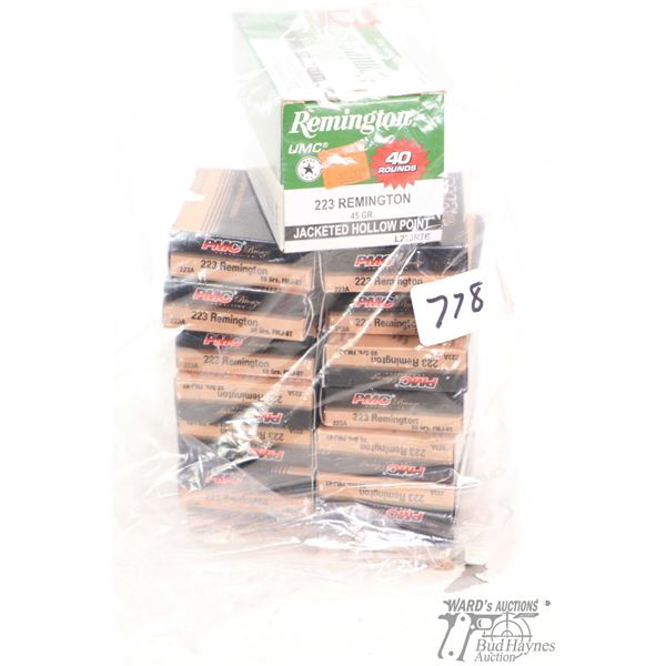 Fourteen 20 count boxes of PMC bronze 233 Remington 55 grain and one 40 count box of Remington 223 R