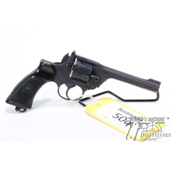Restricted handgun Enfield model No. 2 MK I, .38 S&W six shot double action revolver, w/ bbl length