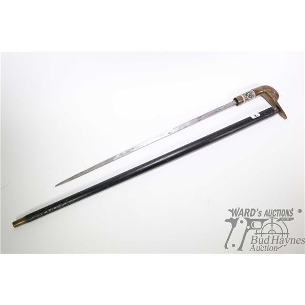 """Vintage concealed sword walking cane with brass duck head handle and carved bone collar, 35"""" tall"""