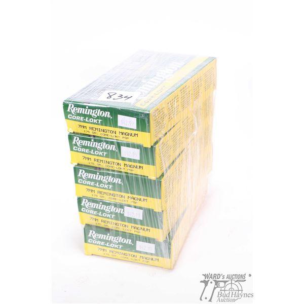 Five 20 count boxes of Remington 7mm Rem Mag. 175 grain Core-Lokt PSP