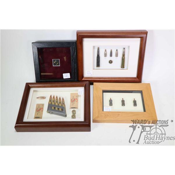 Four shadow box framed ammunition cartridges including 8X56R, , Heckler & Koch G-11 4.7X21mm, Reming