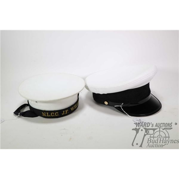 """Two Service Seaman's caps including Canadian cap with hat band marked """" N.L.C.C. J.F Williams"""" and l"""