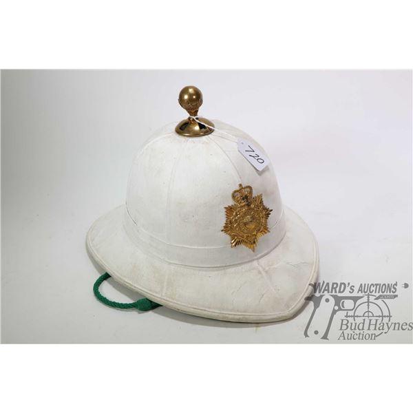 British leather wrapped serviceman's safari helmet Royal Marines helmet badge, possibly Gibraltar Pi