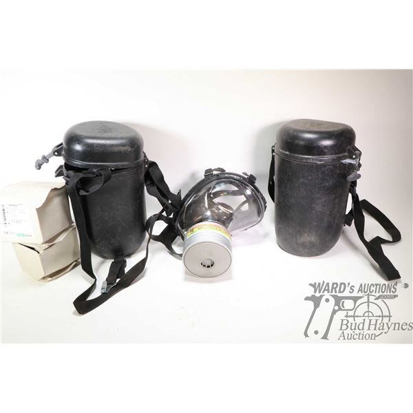 Duffle bag containing three MSA respirators and canisters, not tested or certified
